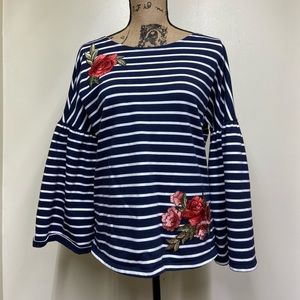 Fever Navy & White Striped Embroidered Bell Sleeve